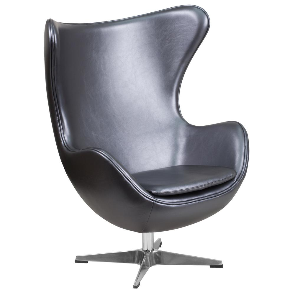 Etonnant Flash Furniture Gray Leather Egg Chair With Tilt Lock Mechanism