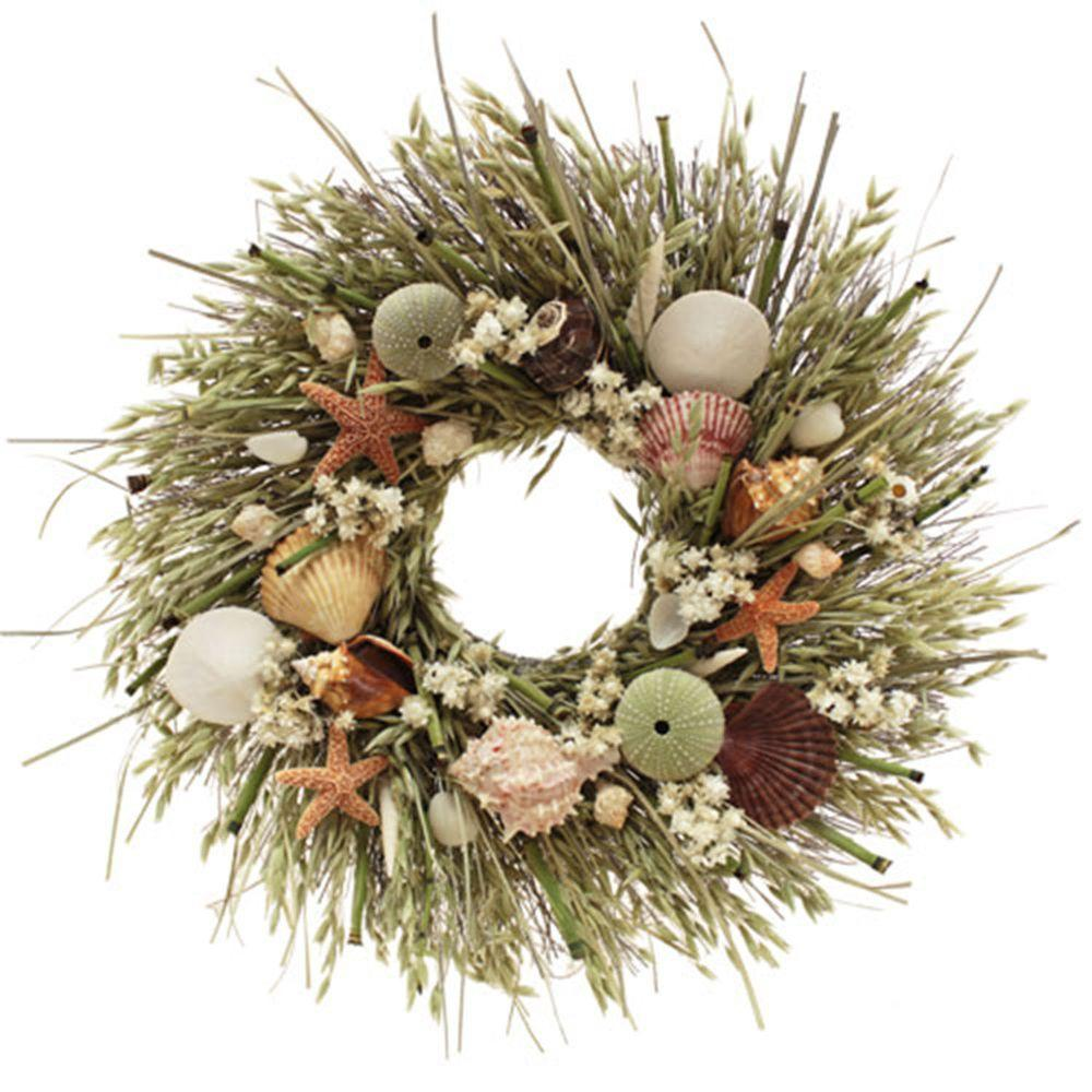 The Christmas Tree Company Tide Pool 18 in. Seashell and Dried Floral Wreath