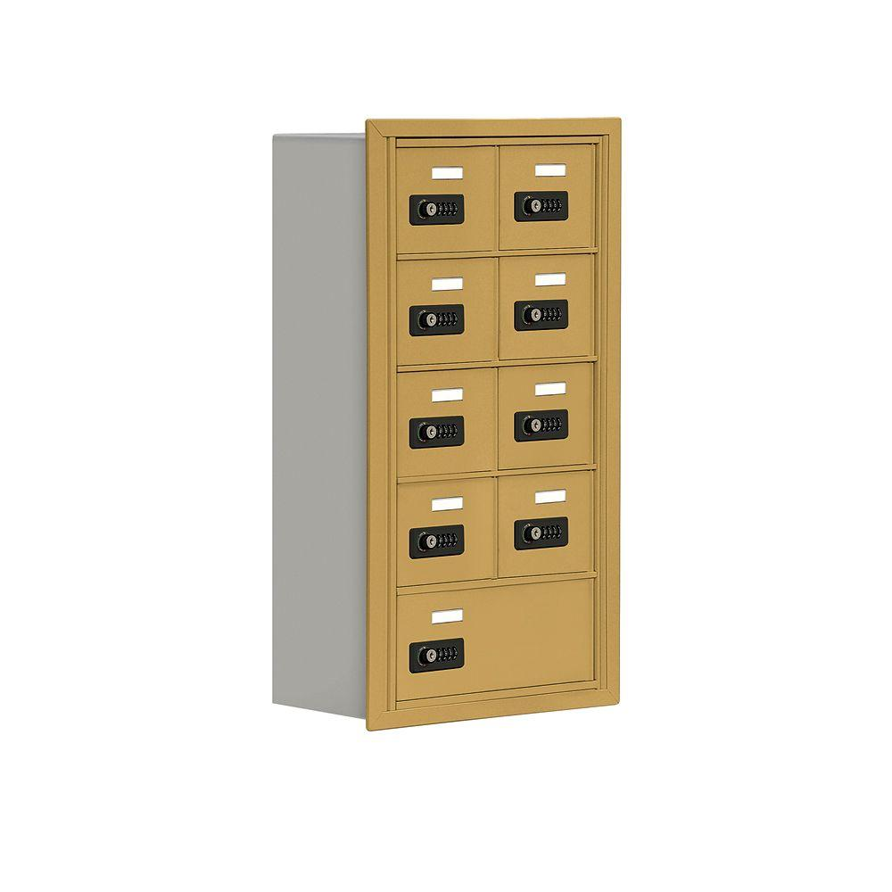 Salsbury Industries 19000 Series 17.5 in. W x 31 in. H x 8.75 in. D 8 A / 1 B Doors R-Mount Resettable Locks Cell Phone Locker in Gold