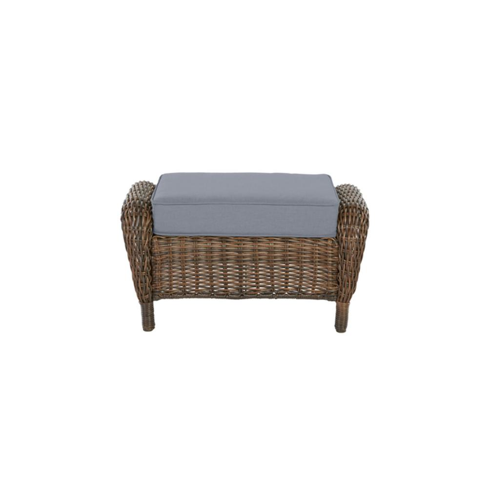 Cambridge Brown Wicker Outdoor Patio Ottoman with CushionGuard Steel Blue Cushions