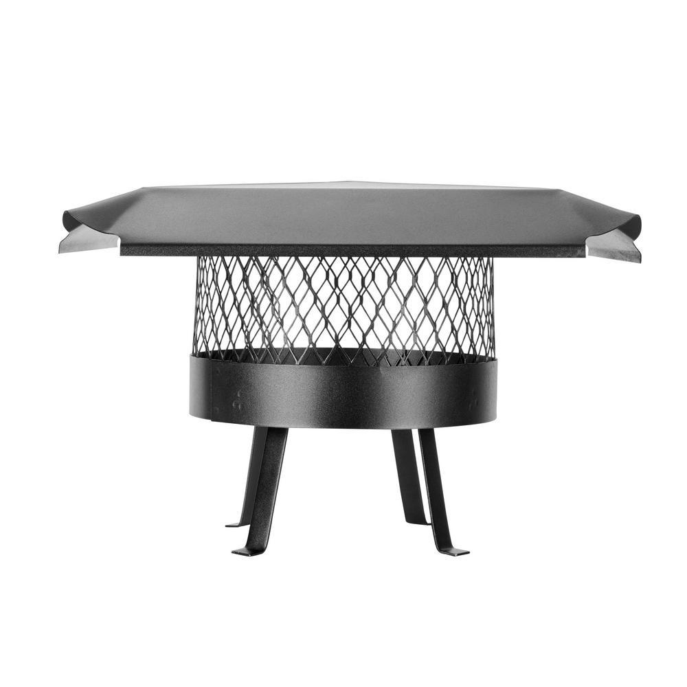 12 in. Round Slip-In Welded Leg Single Flue Chimney Cap in Black Galvanized Steel