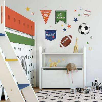 5 in. x 11.5 in. 20-Piece Sports Ball Peel and Stick Wall Decals