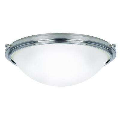Winnetka 17.75 in. W 3-Light Brushed Nickel Flushmount with Satin Etched Glass