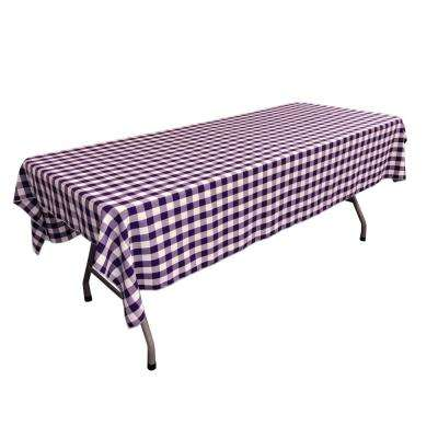 60 in. x 90 in. White and Purple Polyester Gingham Checkered Rectangular Tablecloth