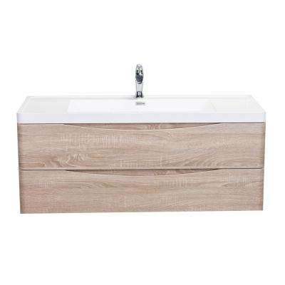 Smile 48 in. W x 19 in. D x 21.5 in. H Vanity in White with Acrylic Vanity Top in White Oak with White Basin