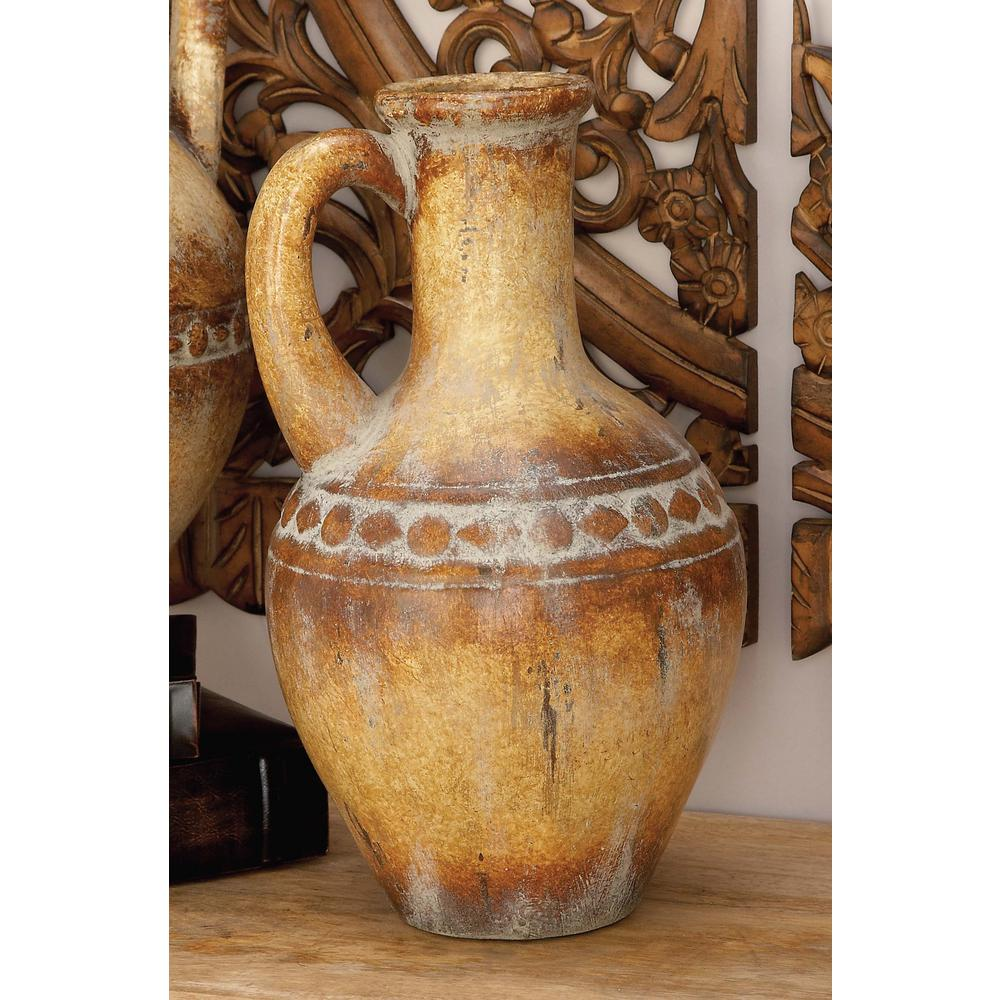 17 in. Rustic Traditional Tuscan Urn-Type Decorative Vase
