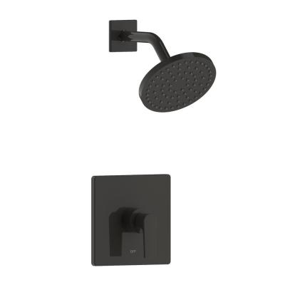 Chatelet Single-Handle 1-Spray Settings Round Shower Faucet Set in Matte Black with Pressure Balance Valve Included