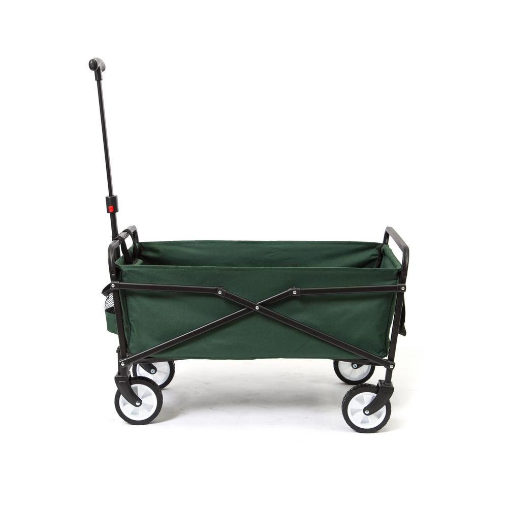 SEINA 150 lbs. Steel Frame Manual Folding Garden Cart Beach Wagon in Blue/Gray