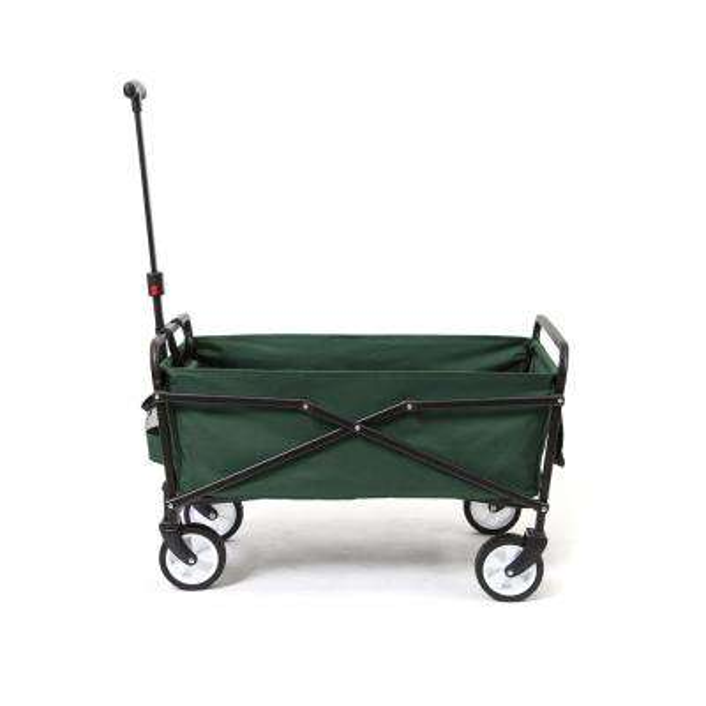 150 lbs. Steel Frame Manual Folding Garden Cart Beach Wagon in Blue/Gray