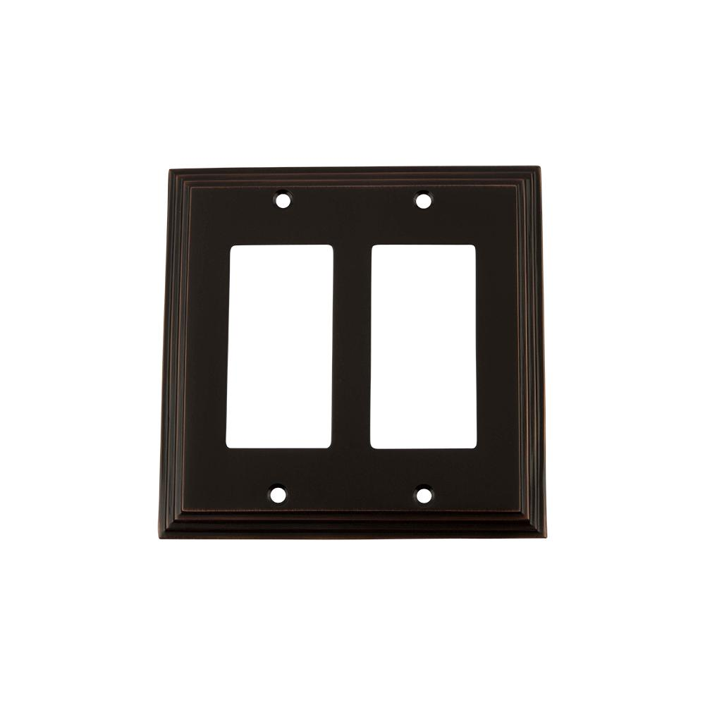 Deco Switch Plate with Double Rocker in Timeless Bronze