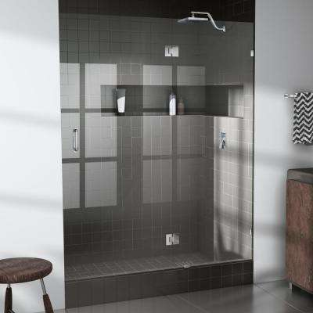 55 in. x 78 in. Frameless Glass Hinged Shower Door in Chrome