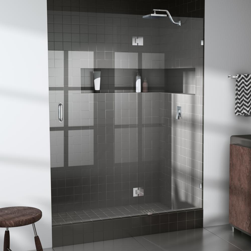 56 in. x 78 in. Frameless Glass Hinged Shower Door in Chrome