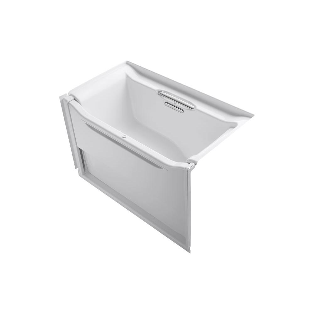 KOHLER Elevance 5 ft. Alcove Rectangular Acrylic Right Drain Rectangle Alcove Non-Whirlpool Bathtub in White