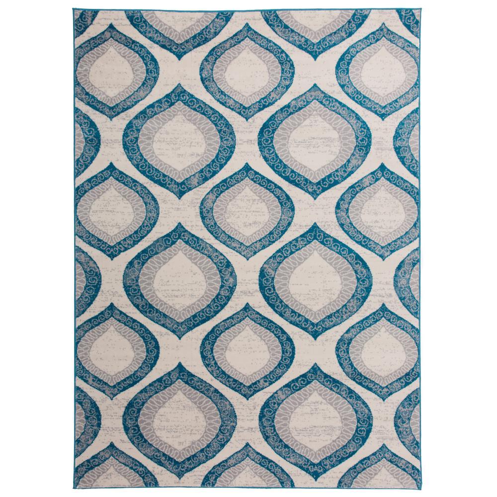 Contemporary Morroccan Design Area Rug Blue 5' X 7'