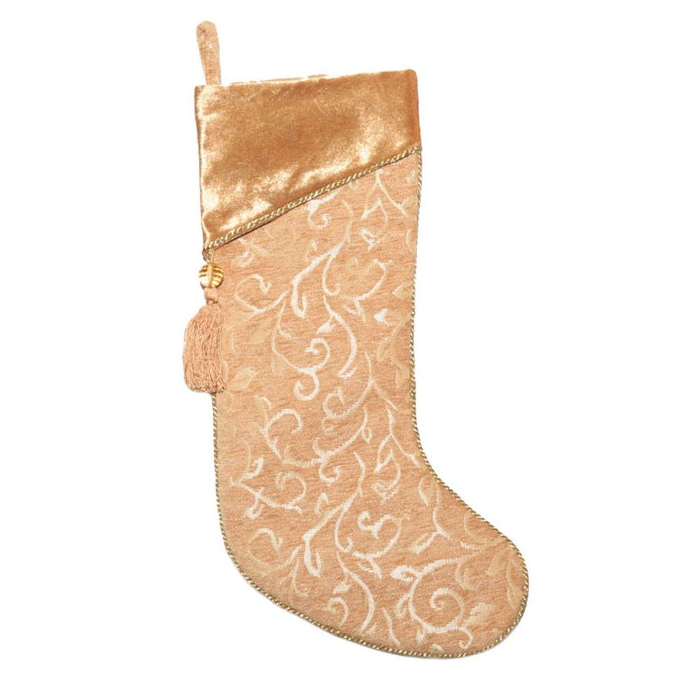 Home Accents Holiday 21 in. Gold Tapestry Slim Line Stocking with Fleur Dis Lis