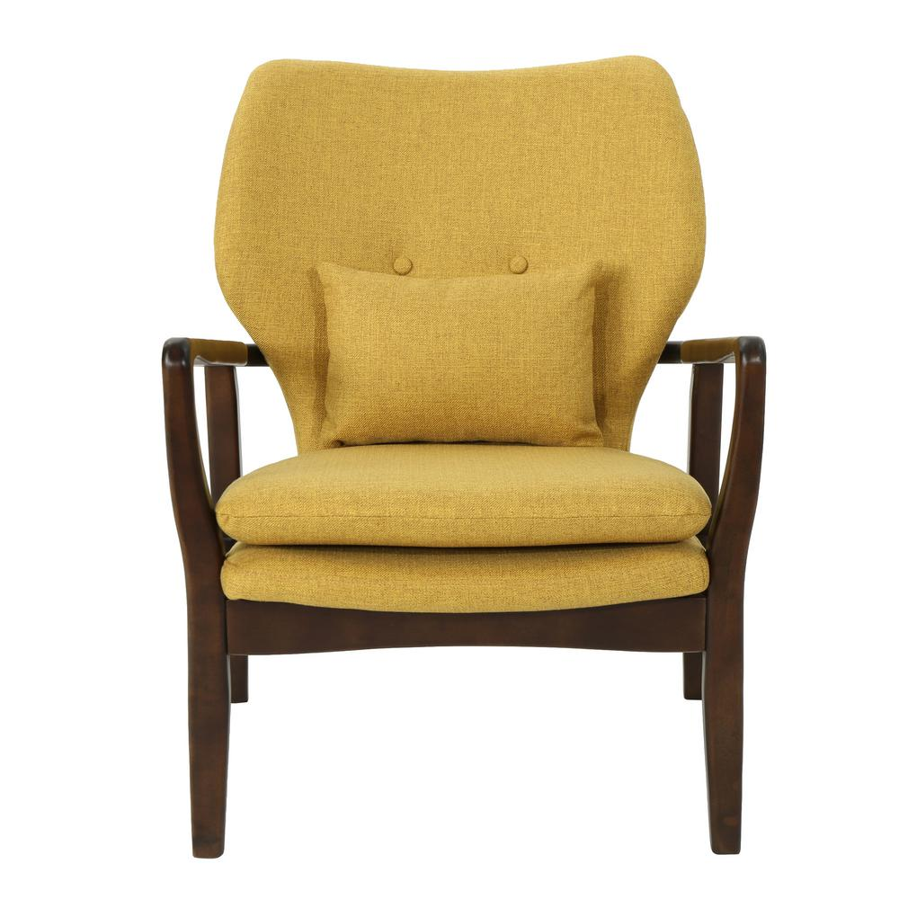Noble House Haddie Mid Century Modern Mustard Fabric Club Chair