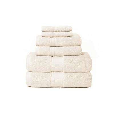 Hotel Zero Twist 6-Piece 100% Cotton Bath Towel Set in Ivory