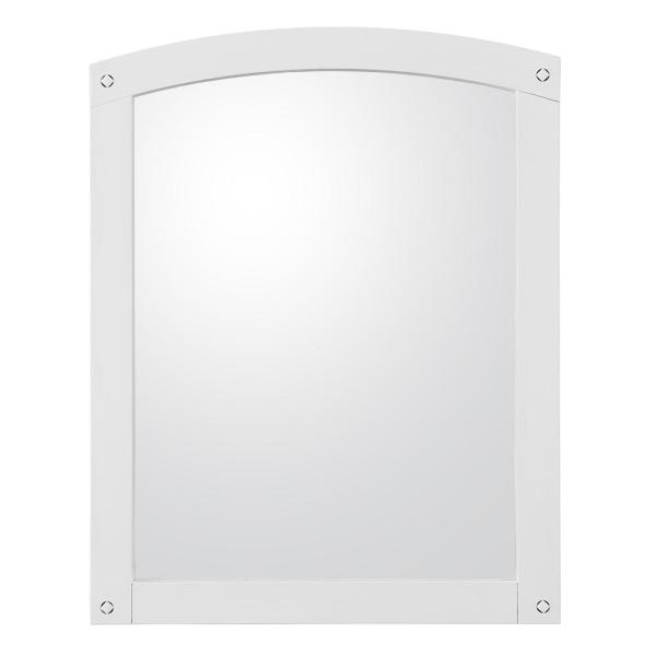 24 in. W x 30 in. H Framed Arched  Bathroom Vanity Mirror in White