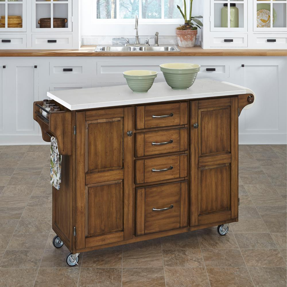 Attractive Home Styles Create A Cart Warm Oak Kitchen Cart With Quartz Top