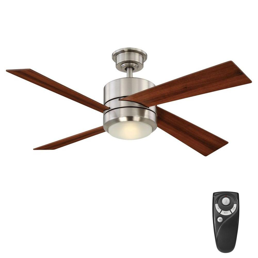 Home Decorators Collection Healy 48 In Led Indoor Brushed Nickel Ceiling Fan With Light Kit And