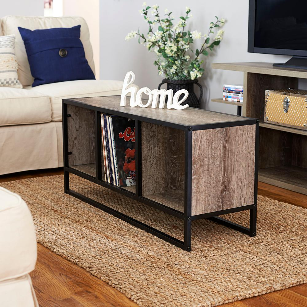 Household Essentials Ashwood Light Wood And Black Open Cubby Coffee Table
