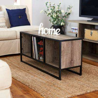 Ashwood Light Wood and Black Open Cubby Coffee Table
