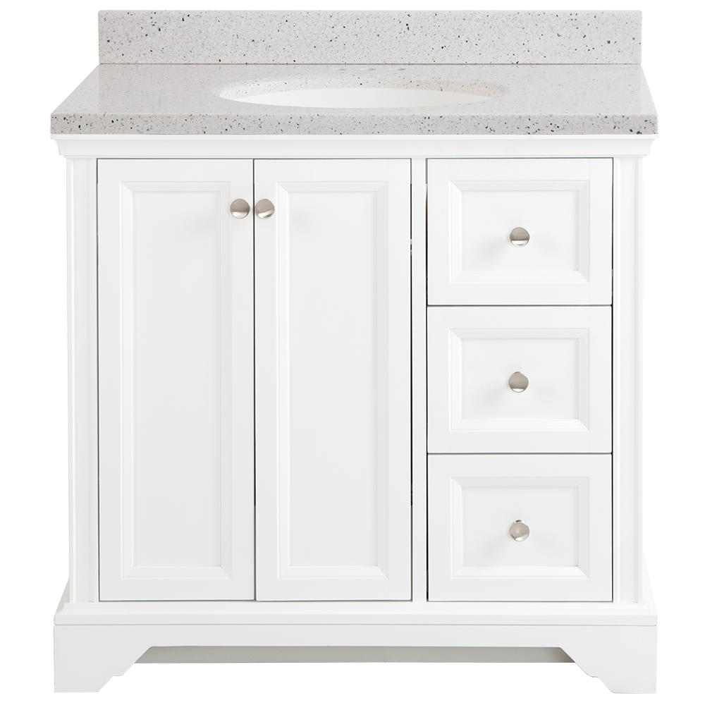 Home Decorators Collection Stratfield 37 in. W x 22 in. D x 39 in. H Vanity in White with Solid Surface Vanity Top in Silver Ash with White Sink