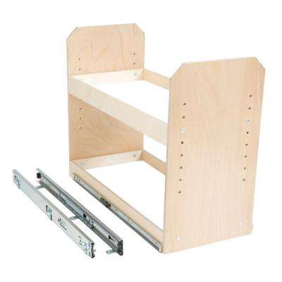 Made-To-Fit 6 in. to 24 in. wide 2 Tier Adjustable Tower Cabinet Organizer, Full Extension, Poly-Finished Birch wood
