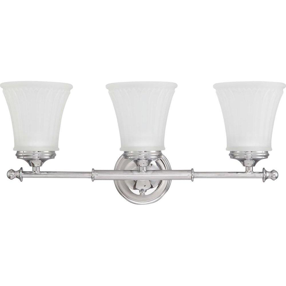 Glomar Lamberta 3-Light Polished Chrome Bath Vanity Light