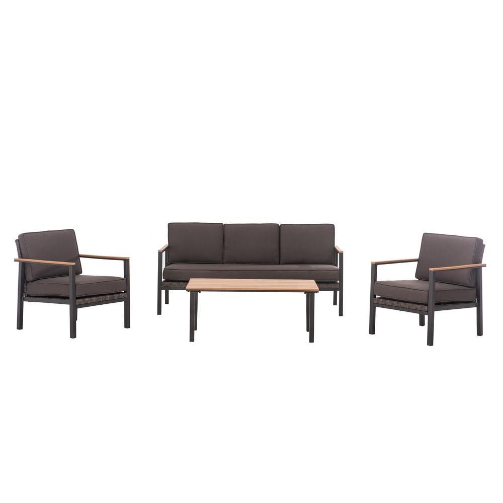 Sunjoy Vail 5 Piece Patio Deep Seating Set With Brown Cushions