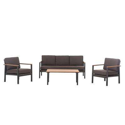 Vail 5 Piece Patio Deep Seating Set With Brown Cushions
