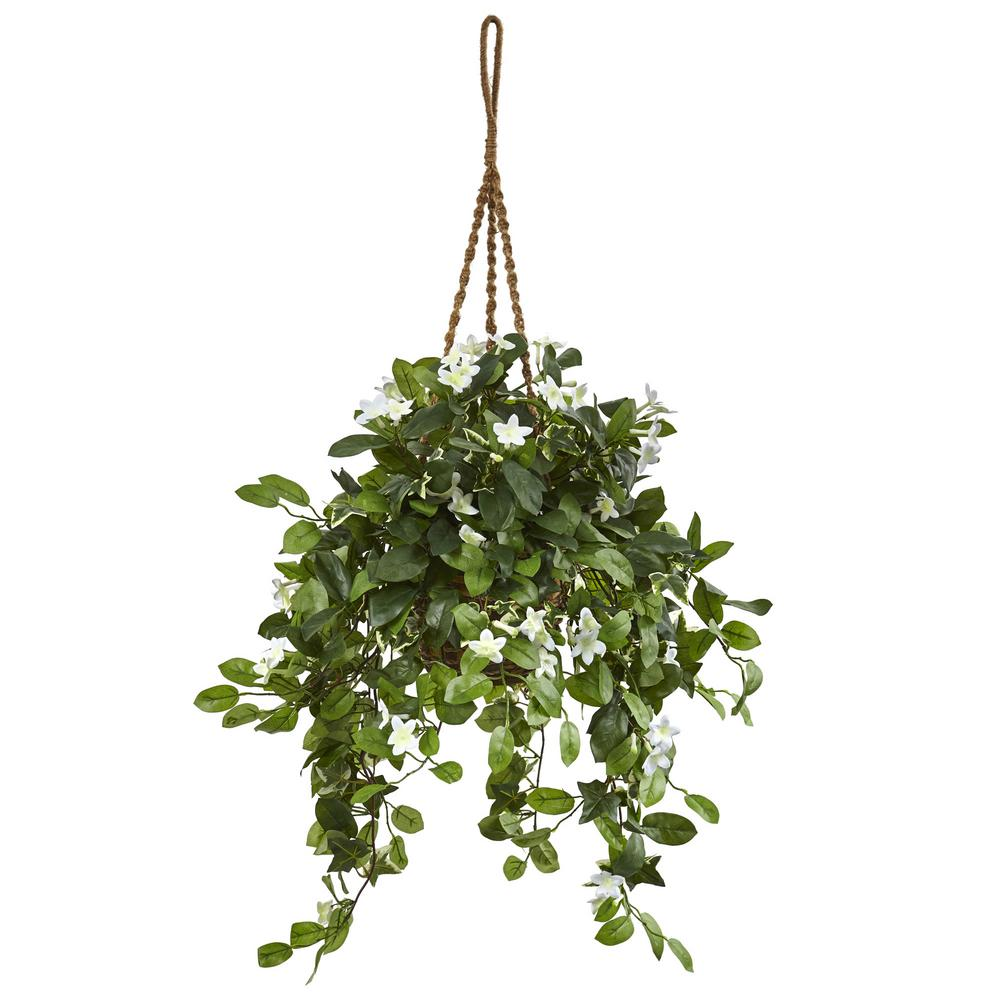 nearly natural indoor stephanotis flowering artificial plant in hanging basket 6985 the home depot. Black Bedroom Furniture Sets. Home Design Ideas
