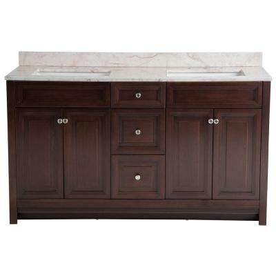 Brinkhill 61 in. W x 22 in. D Bathroom Vanity in Chocolate with Stone Effect Vanity Top in Dune with White Sink