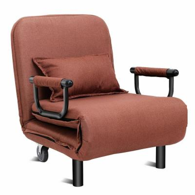 Convertible Sofa Bed Folding Brown Arm Chair Sleeper Leisure Recliner Lounge Couch New