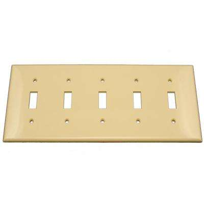5-Gang 5-Toggle Standard Size Heavy Duty Nylon Wall Plate, Ivory