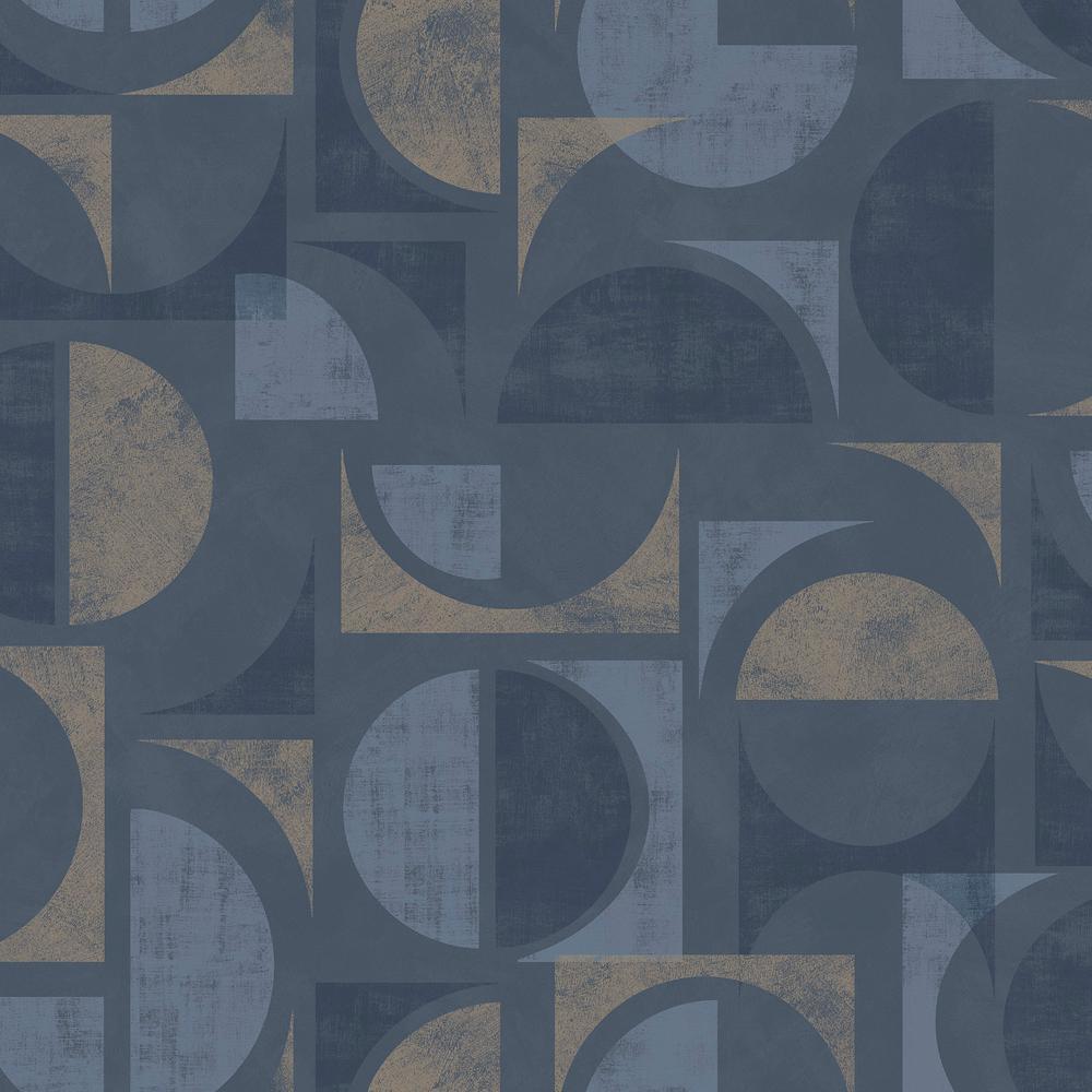 Brewster Hamar Navy Geometric Wallpaper Sample 2734 42452sam The