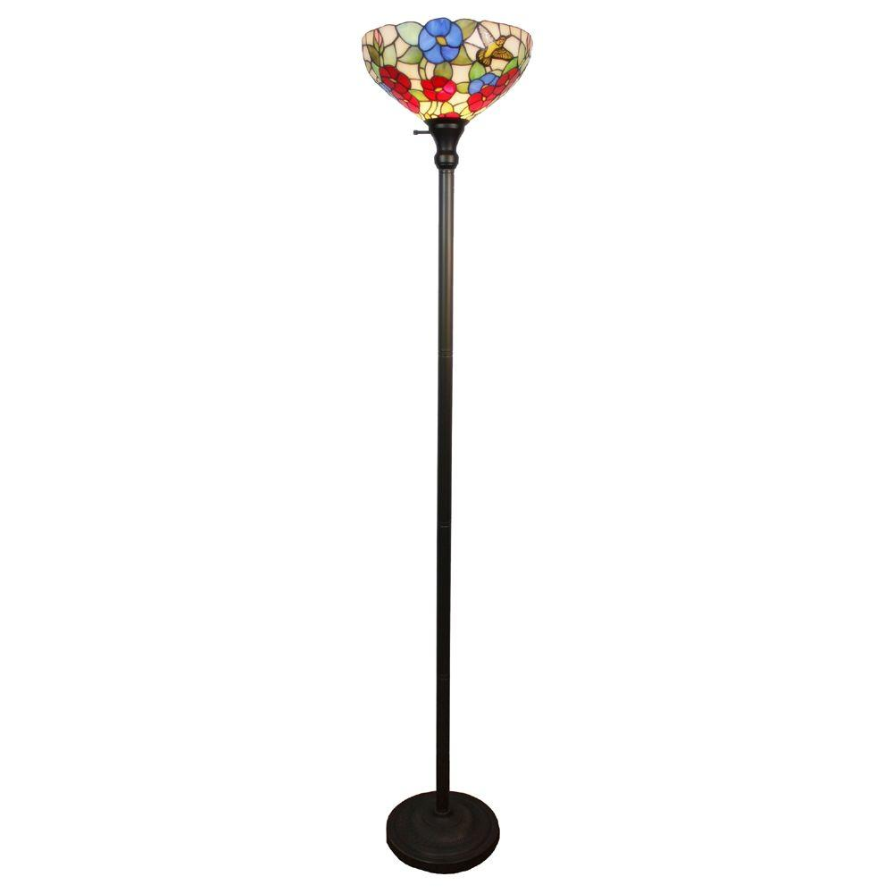 Amora lighting 70 in tiffany style hummingbirds floral torchiere tiffany style hummingbirds floral torchiere floor lamp aloadofball Choice Image