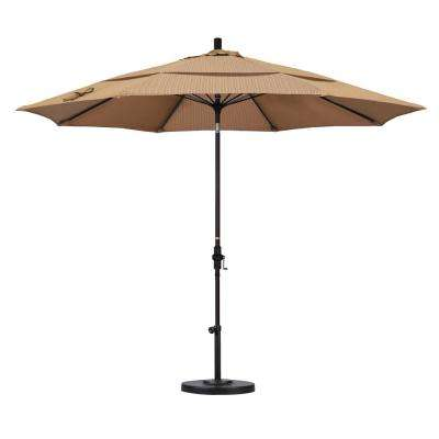 11 ft. Fiberglass Collar Tilt Double Vented Patio Umbrella in Terrace Sequoia Olefin