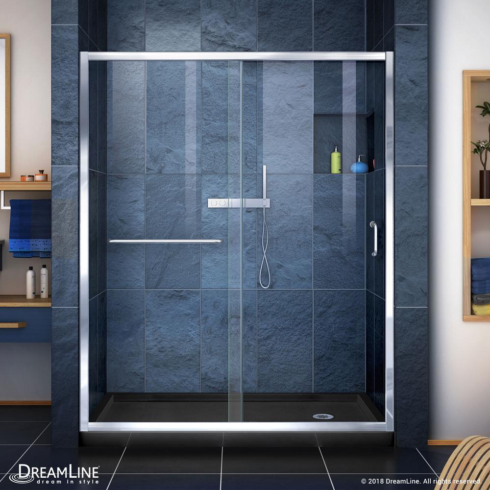 Infinity-Z 34 in. x 60 -Frameless Sliding Shower Door in Chrome with Right Drain Shower Base in Black