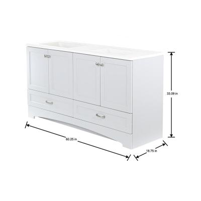 Lancaster 60 in. W x 19 in. D Bath Vanity in Pearl Gray with Cultured Marble Vanity Top in White with White Sinks