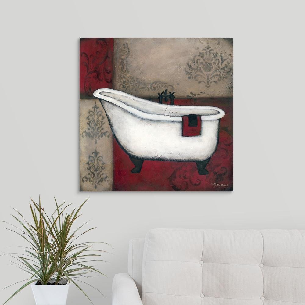 "GreatBigCanvas ""Red Bath I"" by Brittney Hallowell Canvas Wall Art-2349874_24_24x24 - The Home Depot"