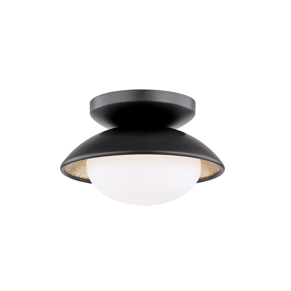 Mitzi By Hudson Valley Lighting Cadence 4 In 1 Light Black Ro Gold Leaf Semi Flush Mount With Opal Matte Shade
