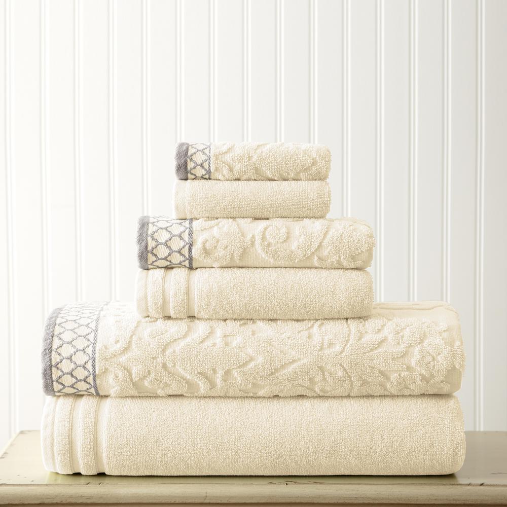 6-Piece Ivory Damask Jacquard Towels Set with Embellished Border