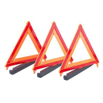 17 in. Collapsible Auto Emergency Warning Triangles with Reflectors (3-Pack)