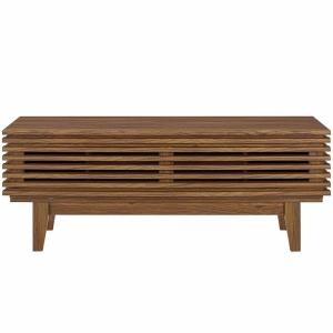 Render 46 in. Walnut Wood TV Console Fits TVs Up to 50 in. with Adjustable Shelves