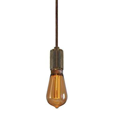 Crosshatch 1-Light Aged Brass Pendant with 96 in. Brown Cord