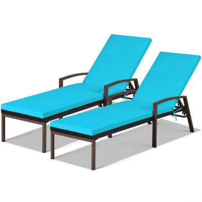 Adjustable Height Rattan Chaise Recliner Patio Lounge Chair with Turquoise Cushions (2-Piece)