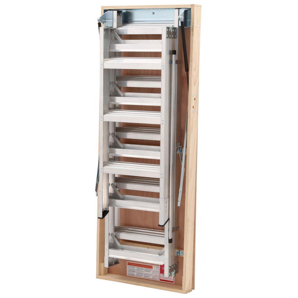 Aluminum Attic Ladder with 375  sc 1 st  Home Depot & 3 u0026 Up - Werner - Attic Ladders - Ladders - The Home Depot