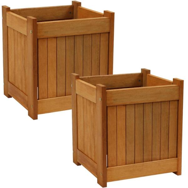 Sunnydaze Decor 16 In Meranti Wood Outdoor Planter Box Set Of 2 Lam 608 The Home Depot