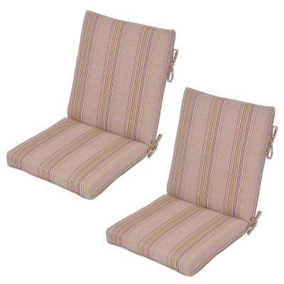 Aubergine Stripe Outdoor Dining Chair Cushion (2-Pack)